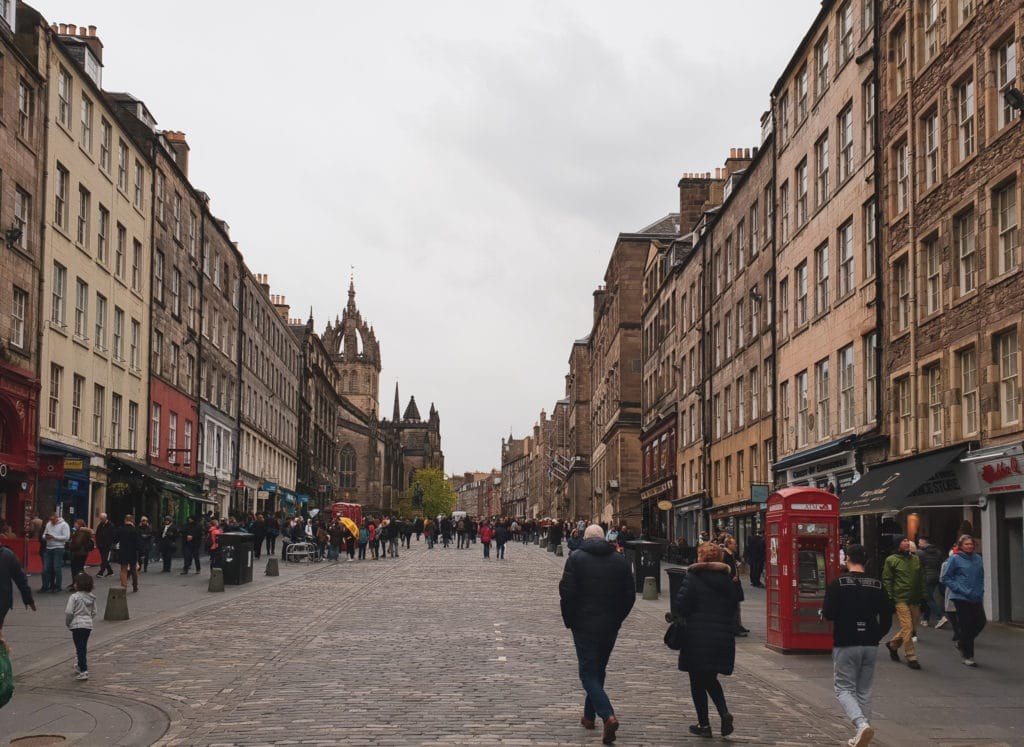 Royal Mile in Edinburgh. This is a street with numerous listed buildings